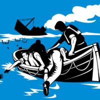 men in life raft picking up survivors of sinking ship